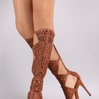 Buckled Geometric Cutout Open Toe Stiletto Heel