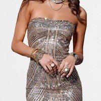 Lead Gold Strapless Homecoming Dresses by Scala