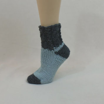 Thick Wool House Socks Slippers Grey Blue Warm