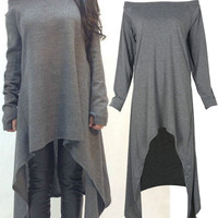 Plus Size Dark Gray Off Shoulder Oversized Asymmetric Dress