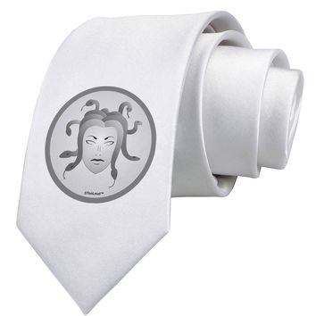 Medusa Head Coin - Greek Mythology Printed White Neck Tie by TooLoud