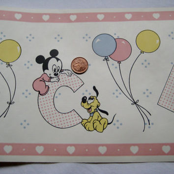 Vintage Disney Babies Minnie Mickey Mouse Donald Duck Pluto Alphabet Balloons Hearts Pastel Vinyl Wallpaper Border 15 Feet UNUSED Sealed