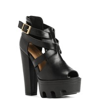Sale-black Edgy Cut Out Heels