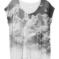 Oversized Modal T-shirt with Clouds Print
