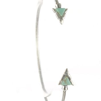Turquoise Triangular Natural Stone Arrowhead Wire Cuff Bracelet