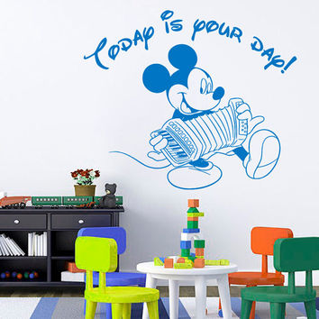 Wall Decal Quote Today Is Your Day Mickey Mouse Sticker Vinyl Decals Art Mural Home Bedroom Decor Interior Design Baby Boy Nursery Decor KY3