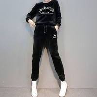 """Burberry"" Women Casual Fashion Velvet Embroidery Letter Long Sleeve Trousers Set Two-Piece Sportswear"