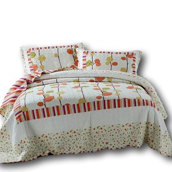 DaDa Bedding Clementine Polka Dot Orange & White Reversible Bedspread Set (KBJ1628)