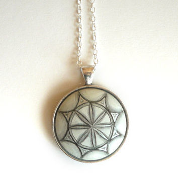 Sacred Geometry Necklace, Hand Painted Pendant Painting Jewelry  - Light Necklace -  Balanced Wood Jewelry - Charm