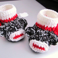 Black and White Monkey Crochet Baby Booties -  4 Sizes - 0-3mos, 3-6mos, 6-9mos, 9-12mos