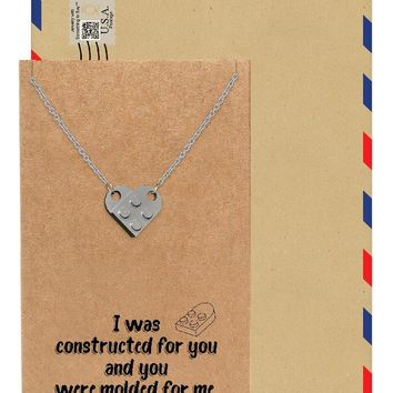 Immanuelle Lego Pendant Set of 2 Necklaces, Relationship Goals, His and Hers Gifts with Greeting Card