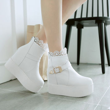 Lace Buckle Women Boots Height Increasing Wedges Platform High Heels Women Shoes 7574