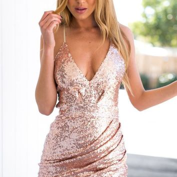 ESBUF3 CUTE SHINING SEQUINS STRAPS DRESS