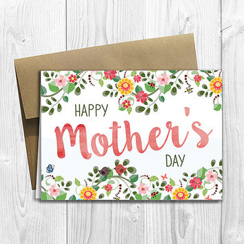 PRINTED Floral Watercolor Happy Mother's Day 5x7 Greeting Card - Notecard