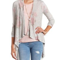 Faded Floral Print Cascade Cardigan by Charlotte Russe - Heather Gray