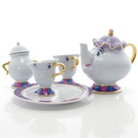 Cartoon Beauty And The Beast Tea Set Teapot Cup Creative Mrs Potts Sugar Pot Bowl Chip Mug Plate Saucer Tea Kettles Home Decor
