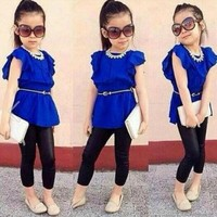 Children clothing set Girls clothes suit Blue Shirt Dress+Black Leggings Kids Casual clothes
