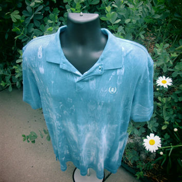 XXL Mens or Teens Gap upcycled polo. All cotton shirt, easy care, prewashed,  indigo, white. Shibori patterns. Machine wash, tumble dry.