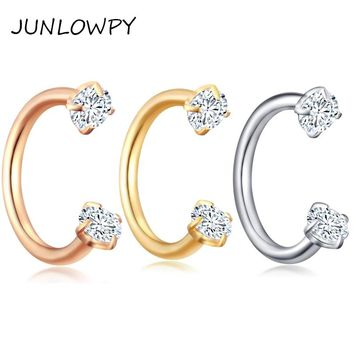 JUNLOWPY 1pcs Internally Silver GOld Body Piercing Jewelry Small Earring Hoop Horseshoe Nose Ring Tragus Carlitage Piercing Ear