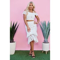 Sweet Style Lace Two Piece Set (Off White)
