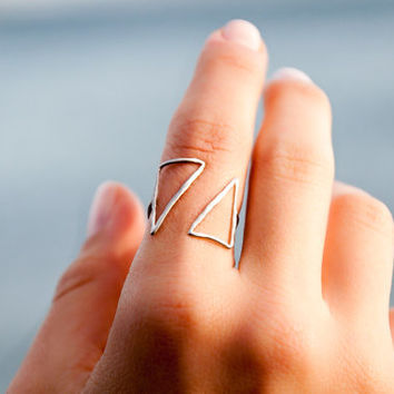 Triangle Ring - Sterling Silver Ring - Minimalist Ring - Adjustable Silver Ring -Unique Geometric Ring -  Open Silver Ring -Triangle Jewelry