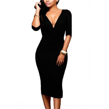 Black Qmilch Sheath Half Sleeves Dress