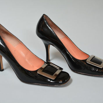 Vintage Joan & David Black Patent Leather Buckled Heels Size 9 1/2 M