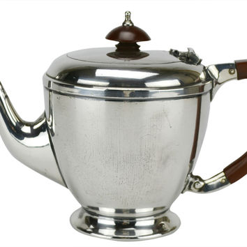 Art Deco Silver Plated Teapot by Walker & Hall Vintage English circa 1920