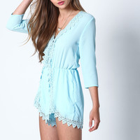 BLUE CROCHET BLOOM WRAP ROMPER