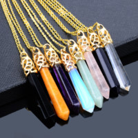 Natural Healing Crystal Necklace, Multiple Colors
