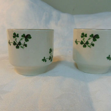 Shamrock Egg Cups (2) Carrigdhoun Pottery Co-Op Cork Ireland
