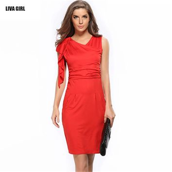 New 2017 Summer Dress Causal Pencil Sheath Women Dress Casual Ruffle Sleeve Knee-Length Vestidos Red Bandage Party Dresses