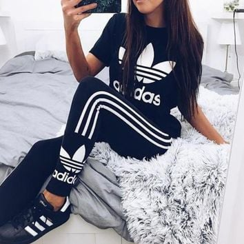 "Women Fashion ""Adidas"" Print Stretch Exercise Fitness Pants Trousers Leggings Sweatpan"