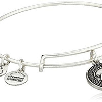 "Alex and Ani ""Sorority"" Zeta Tau Alpha Expandable Rafaelian Silver Finish Wire Bangle Bracelet"