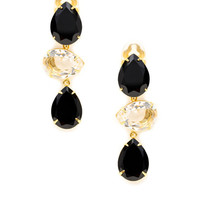 Black Onyx & Clear Quartz Triple Drop Earrings by Bounkit at Gilt