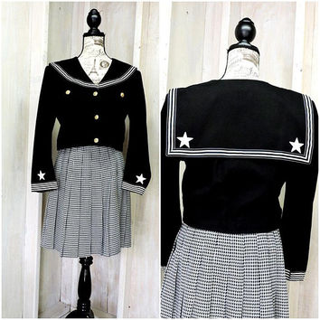 Cropped jacket / top / vintage 80s nautical jacket  / S / M / sailor crop jacket
