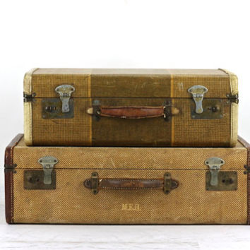 Suitcase Stack Of Two, Suitcase, Old Suitcase Stack, Vintage Suitcase, Stacked Suitcases, Luggage