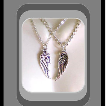 couples jewerly, Unisex jewelry, angel wing jewlery, mother daughter jewelry, angel wing necklaces, Antique Silver Angel Wing jewlery, Wings