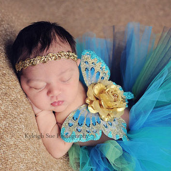 Baby girls newborn butterfly wings peacock colors gold flower halo headband set ready to ship