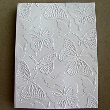 Embossed Butterflies, Set of 5, Embossed Butterfly Card Set, Blank Cards, White