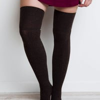 Miss You Thigh High Socks - Brown