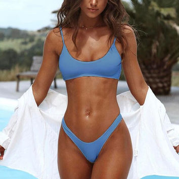 New Summer Sexy Women bikini Solid Color swimsuit Blue Swimwear -0711