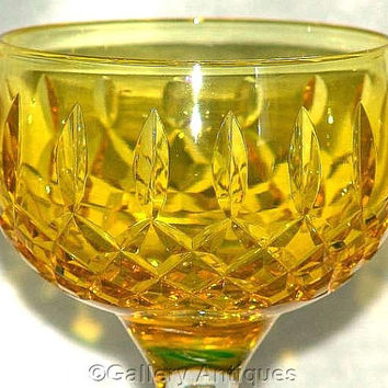 "Vintage Czech / Bohemian ? Yellow Flashed Crystal Cut Glass 6 13/16"" Tall Wine Hock c.1970's (ref: 3176)"