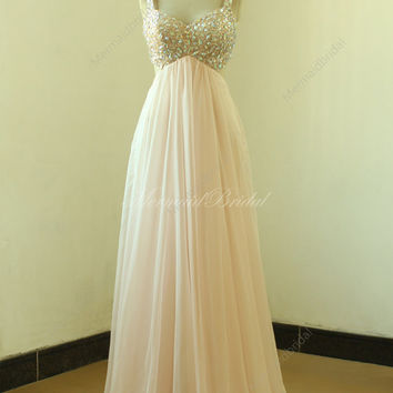 Backless sexy blush/pale pink beading prom dress,homecoming dresses