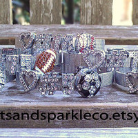 Personalized Bling Jersey Number Stainless Steel Bracelet with Rhinestone Charm