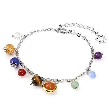CrystalTears Solar System Link Bracelet Universe Galaxy The Nine Planets Guardian Star Healing Jewelry