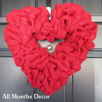 Valentine's Day Burlap Heart Wreath, Red or Black Burlap Valentine's Day Heart Wreath, Spring, Easter, Year Round, Red Heart
