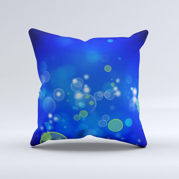 Lime Green Blue Unfocused Cells Ink-Fuzed Decorative Throw Pillow