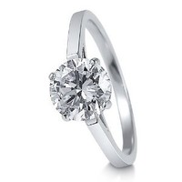 BERRICLE Sterling Silver 2 Carat Round Cubic Zirconia CZ Solitaire Womens Engagement Wedding Ring