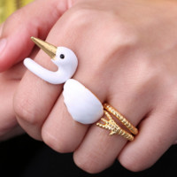Margie the Swan - Hand Painted Rings (3 pcs)